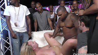 White wife fucked by blacks in club in front of husband