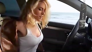 Perfect blonde mast in the car
