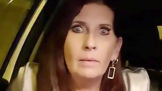 Milf has a quick play in the car