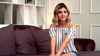 Cute teen Tieny Mieny loses her virginity with a young stud