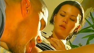 Cute stewardess seduces a handyman