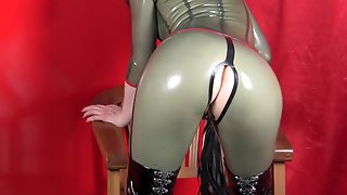 Latex catsuit and boots