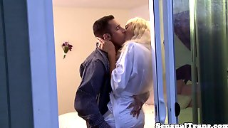 Angelic transexual bride drilled on wedding night