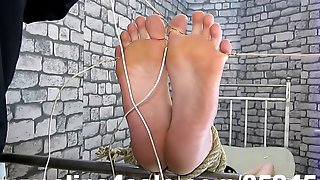 Foot fetish electro torture fingers