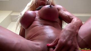 Muscular Porn Star Ashlee Chambers Masturbates Her Big Clit