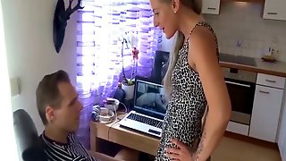 German Teen Sister Catch Bro Jerk and Help with Anal Fuck