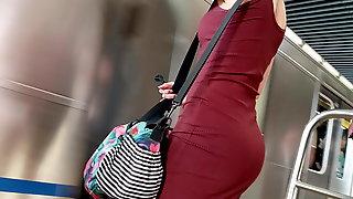 Red dress milf