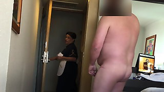 Maid caught me stroking my cock!
