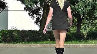 Crossdresseing outside, Sandy in very short dress