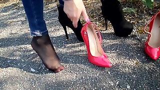 Walk On Asphalt On Extreme Heels and Boots, Change on Asphal