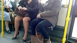 Mature with sexy heels and pantyhose in the bus 2