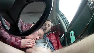 Mature prostitute sucking guy off in car, second camera