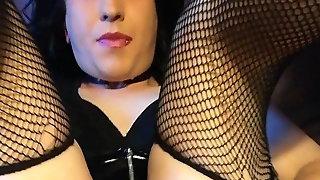 Pvc wearing crossdresser sissy playing and cumming
