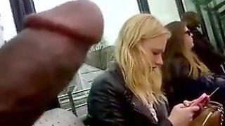 Dick flashing blond bus stop