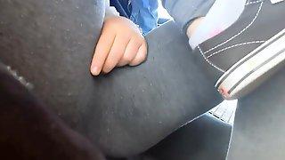 Cameltoe of a Shy Teen in Leggings