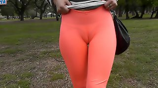 Huge Deep Cameltoe at the Park. Round Ass Girl. See-Through