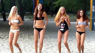 Beautiful sexy russian girls dancing on the beach