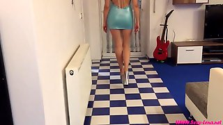 Blue dress and glitter heels