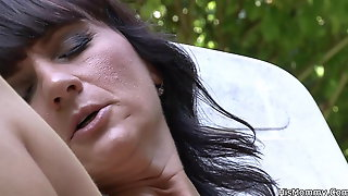 Busty mom gets fucked by her son's blonde gf