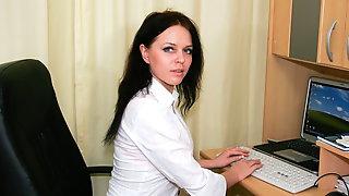 Horny russian MILF wanking in the office