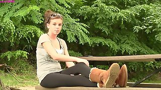 Amy in Uggs shoeplay front