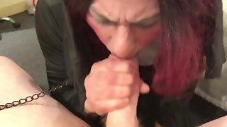 Daddy gets his cock sucked by horny Nun in Motel