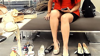 Gf's sexy sitting upskirt, shoe shopping