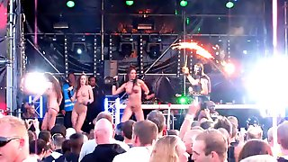 Nude on stage gogo girls at rave-techno concert 2