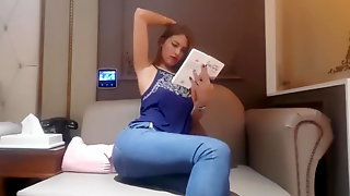 Girl farting in jeans