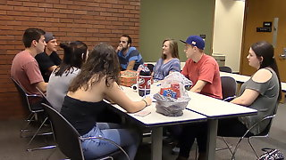College girl syntribating to multiple orgasms in focus group