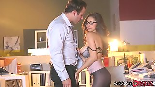 Brunette with Glasses gives after hours Blowjob