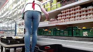 Hungarian shop worker mature perfect ass and legs
