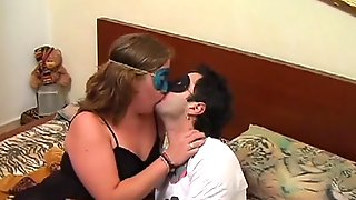 Cute thick girl in a mask gets her hairy pussy filled by a masked man's dick