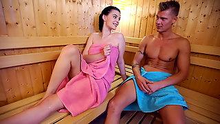 RELAXXXED - Hot sauna blowjob with Czech babe