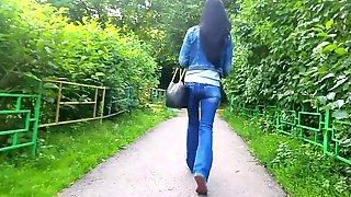 Beauty tall brunette's ass
