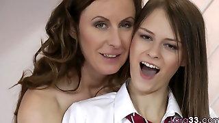 Sapphic euro MILF seduces cute teen
