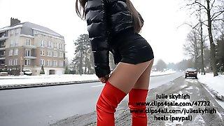 Hooker in red overknee boots & moncler downjacket