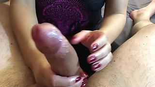 New Years Handjob with incredible Cock Polishing