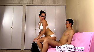 Amateur girl gives him striptease then blowjob to riding cre