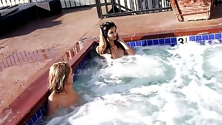 Teenagers at private pool
