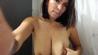 Latina self boob suck