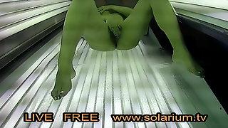 Blonde Girl Masturbation on Solarium