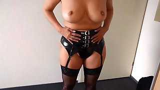 Alysha Stripping in Latex outfit, Stockings & High Heels