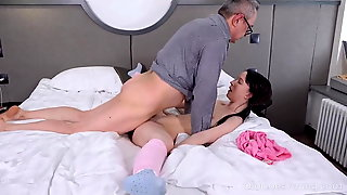 Angry man punishes the cutie for the mess she makes