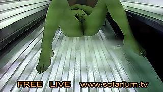 Blonde Horny Milf Fingering Pussy on Public Solarium