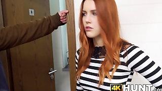 Redhead 18yo riding big cock after sold by boyfriend