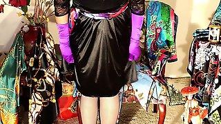 Crossdressers black satin dress and cum filled scarf
