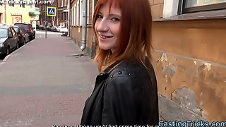 Redhead newbie banged at fake casting