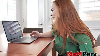 Redhead MILF gives a titjob before riding a rock solid cock