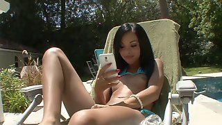 Petite teen with small tits sucks boy's hard dick by the pool